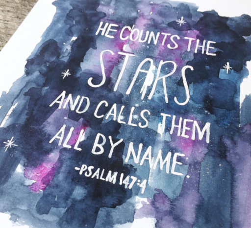 Daily Painting - Watercolor Galaxy - He counts the stars and calls them all by name. -Psalm 147:4