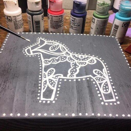 Dala Horse Painting - Artist: Ashley Hackshaw / Lil Blue Boo