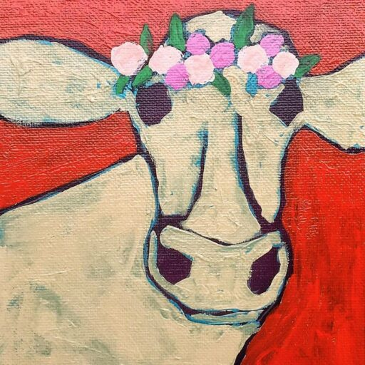Cow Painting - Artist: Ashley Hackshaw / Lil Blue Boo