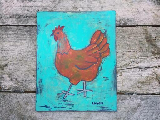 Red Hen Chicken Painting - Artist: Ashley Hackshaw / Lil Blue Boo