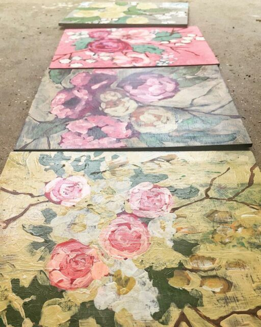 Floral Paintings in Progress - Artist: Ashley Hackshaw
