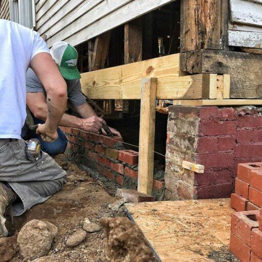 joining farmhouse foundation beams - brick skirt rebuilding
