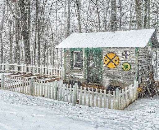The Old Depot in the winter - chicken coop - railroad