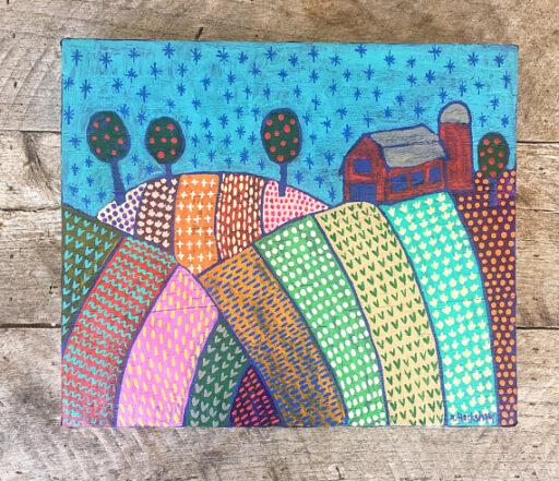 Farm Folk Art Painting - Artist: Ashley Hackshaw / Lil Blue Boo
