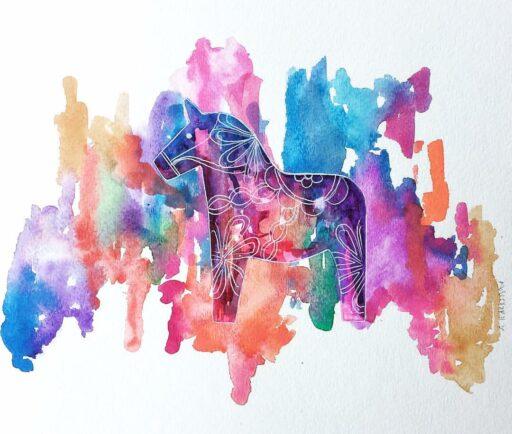 Dala horse painting - Swedish Dala Horse Art - Rainbow Art