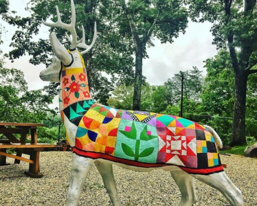 Painted Deer Statue - Quilt painting