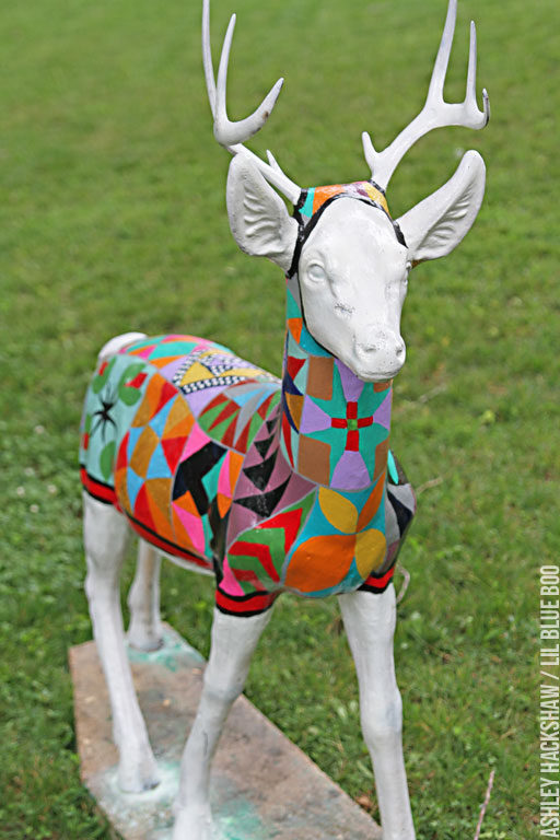 A painted quilt on concrete outdoor 1950s deer
