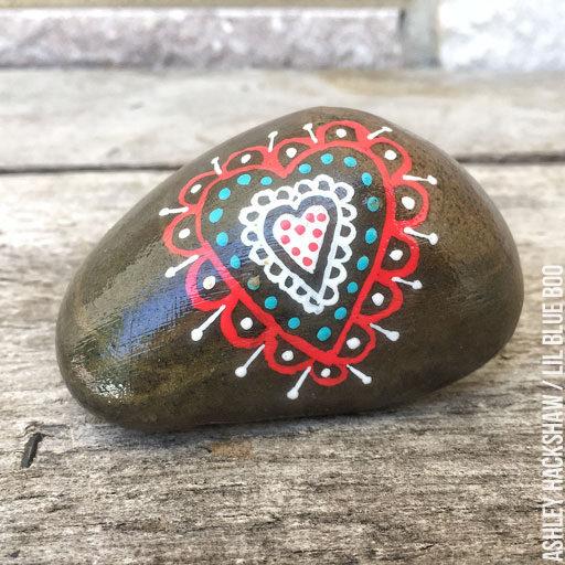 Painted Rock Project - Scandinavian Heart Rock Design