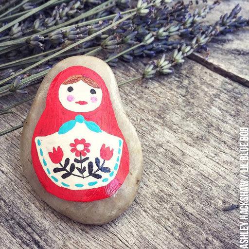 Painted Rock Ideas - Matryoshka Russian Doll Rock