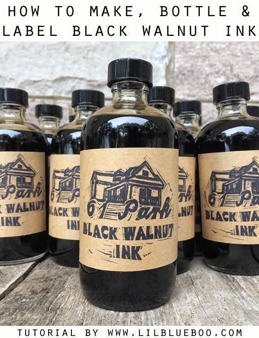 DIY Black Walnut Ink - How to Make, Bottle and Label Your Own DIY Black Walnut Ink