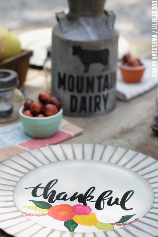DIY Calligraphy Chargers - Rustic Farmhouse Table Decor and Fall Decorating Ideas
