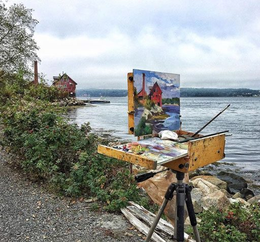 Plein Air painting in Gloucester - Rock Neck Art Colony - Paint Factory