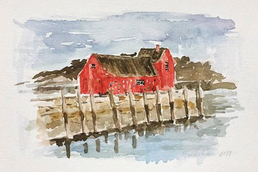 Motif Number 1 painting in Rockport - Rockport watercolors