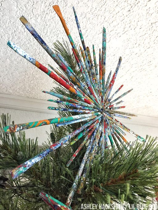 Christmas Tree Topper made from paintbrushes - paint brush starburst - vintage art supplies