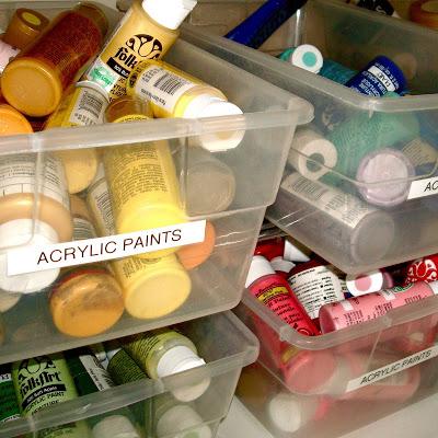 Studio Envy bins of paint via lilblueboo.com