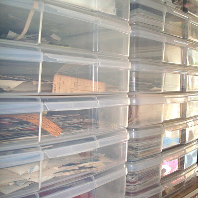 Studio Envy Flat bins of vintage papers, tickets, letters, scrapbook paper via lilblueboo.com