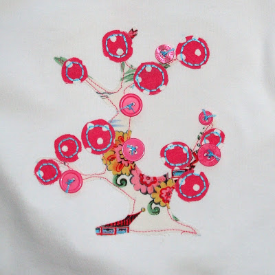 Applique Cherry Tree Shirt and Ruffle Pants applique via lilblueboo.com