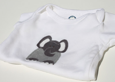 Elephant Infant Gift Set applique via lilblueboo.com