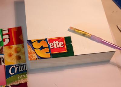 Glue Squares with Matte Medium via lilblueboo.com
