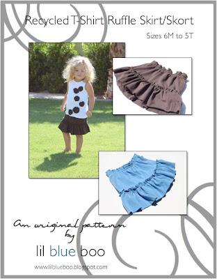 Recycled T-Shirt Ruffle Skirt/Skort ePattern via lilblueboo.com