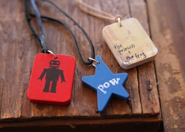 Wooden Pendant Necklaces (and Keychain) Tutorial 2 via lilblueboo.com