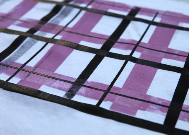 Using Contact Paper to Create a Distressed Plaid Design step 3b via lilblueboo.com