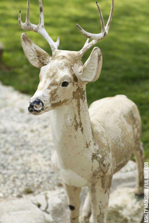 Painted Concrete Deer Upcycling