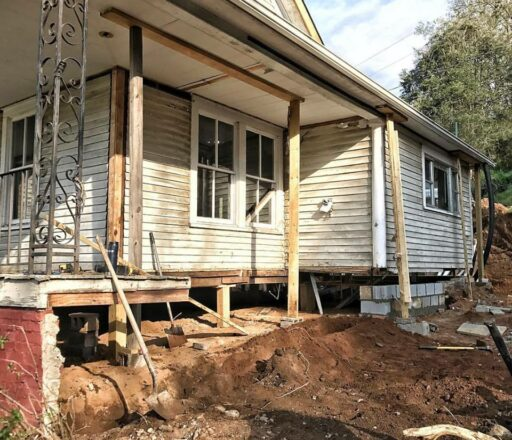 Farmhouse Renovation Progress - Farmhouse Front Porch - 61 Park - The restoration of a 100-year-old Bryson City Farmhouse.