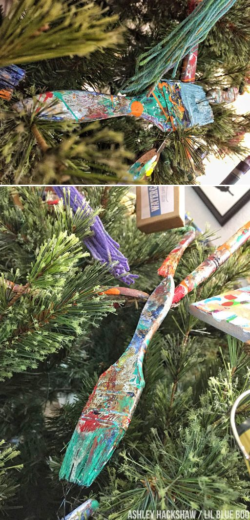 Paintbrush garland on a Christmas tree - art themed holiday decor