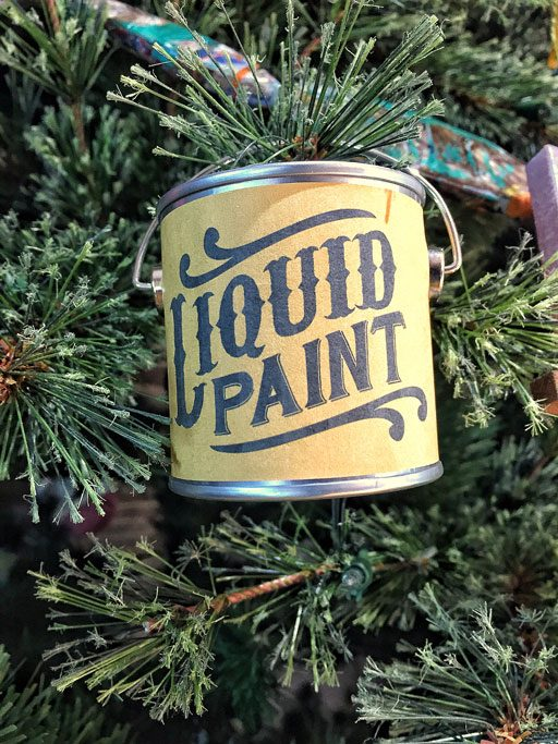 DIY Vintage-inspired mini paint can ornaments - free printable labels to make your own Christmas ornaments