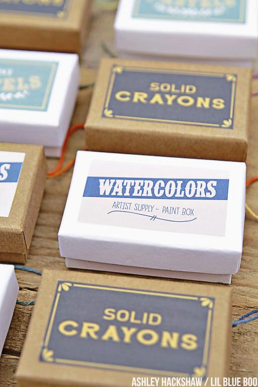 Vintage-inspired Vintage Art Supply printable labels - watercolors, crayons, pastels - art theme ornaments