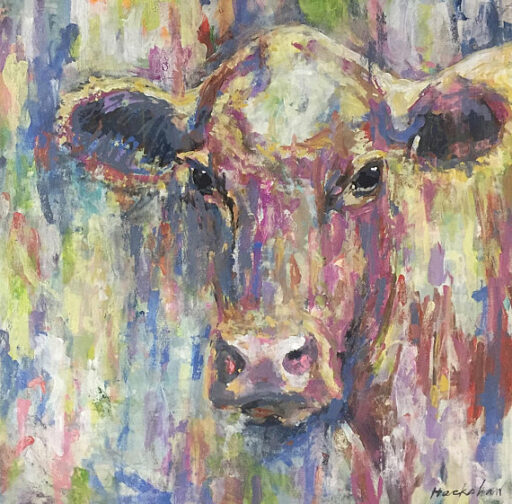 """Small But Mighty Acrylic on 24"""" x 24"""" Canvas Available on Etsy - Cow Painting by Ashley Hackshaw / Lil Blue Boo"""