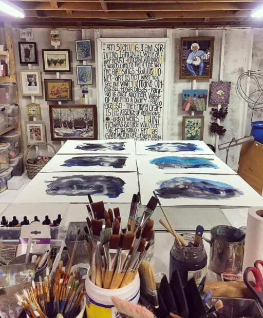 Paintings in process in the art studio - galaxy pairings and river paintings by Ashley Hackshaw