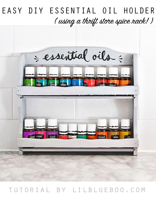 How to make and easy DIY essential oil holder shelf using an old spice rack - #MichaelsMakers #MakeItWithMichaels