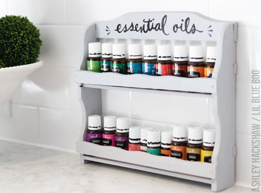 How to make and easy DIY essential oil holder shelf using an old spice rack - Essential Oil Display - #MichaelsMakers #MakeItWithMichaels