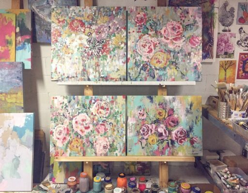 Floral Painting - Art Studio Wall Easel System - Artist Ashley Hackshaw / Lil Blue Boo