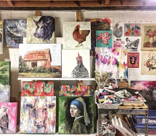 Art Studio Wall Easel System - Artist Ashley Hackshaw / Lil Blue Boo