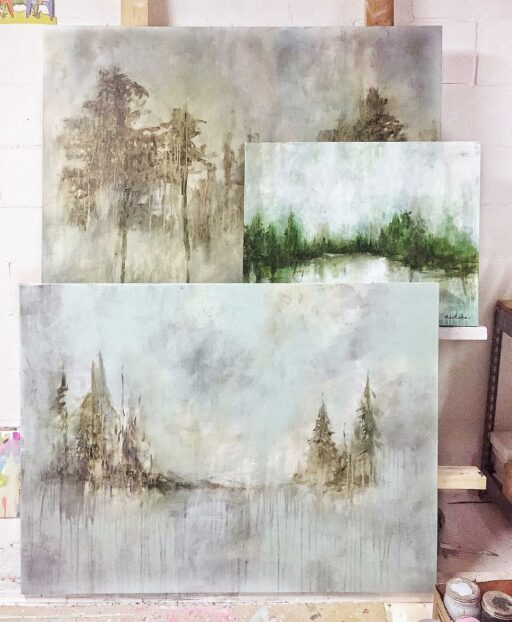Tree Paintings - Floral Painting - Art Studio Wall Easel System - Artist Ashley Hackshaw / Lil Blue Boo