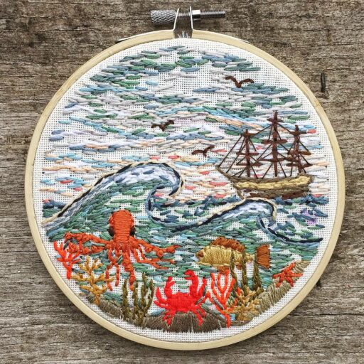 Travel Embroidery - New England Inspired Stitch Work - Embroidery Art - things to do in the car