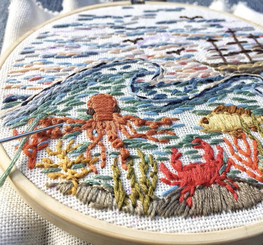 Travel Embroidery Art - New England Inspired Stitch Work