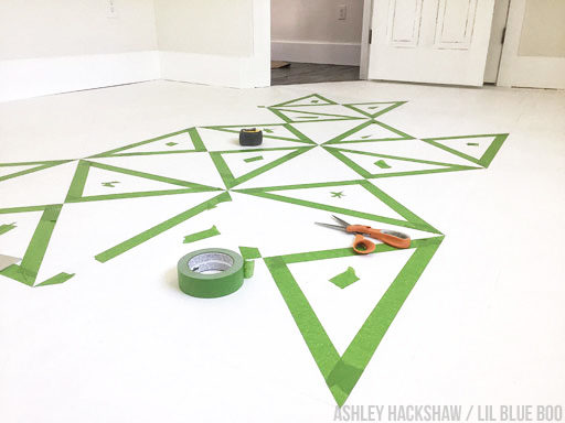 How to paint a pattern on a floor - quilt pattern using frog tape