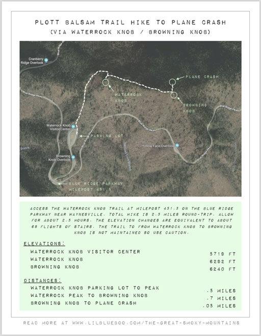 Hiking map to plane crash in smoky mountains waterrock knob