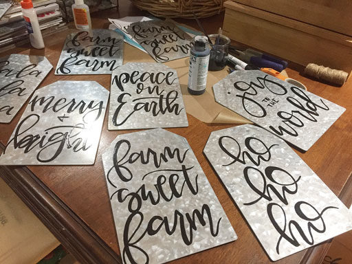 DIY Farmhouse Ornaments - Galvanized Metal Tags with Calligraphy - Farm Sweet Farm