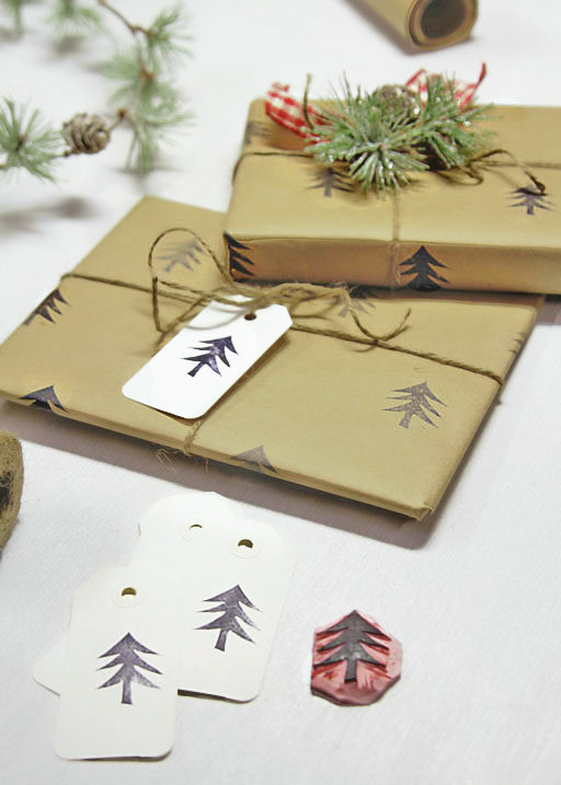 Handmade Christmas Wrapping Paper - DIY Stamped Paper