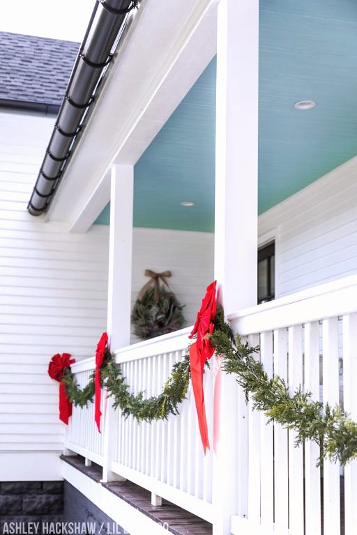 Farmhouse Porch Christmas Decor Ideas - Railing Garland