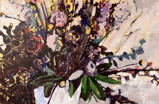 Large Floral Painting Progression - Painting Tools and Process - Art by Ashley Hackshaw