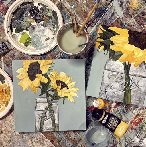 Mason jar painting and sunflower painting