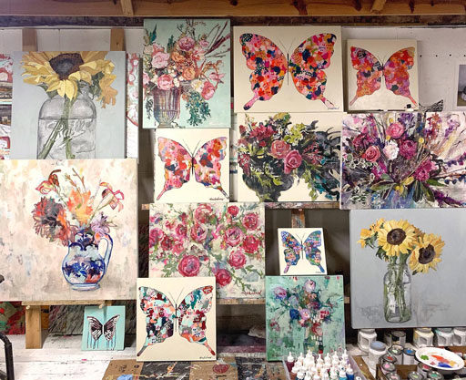 Art studio - butterfly paintings by ashley hackshaw