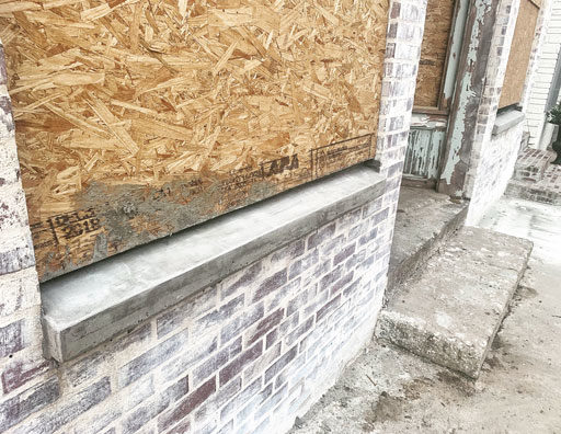 How to pour concrete window sills